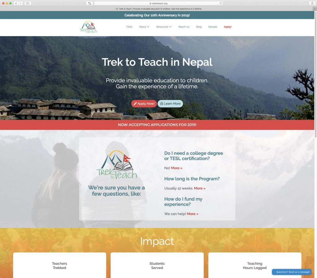 Trek to Teach website refreshed by BRANDVIVO